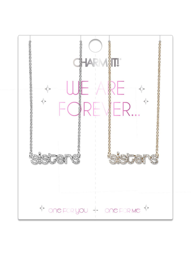 Rhinestone Sisters Necklace Set - Charm It