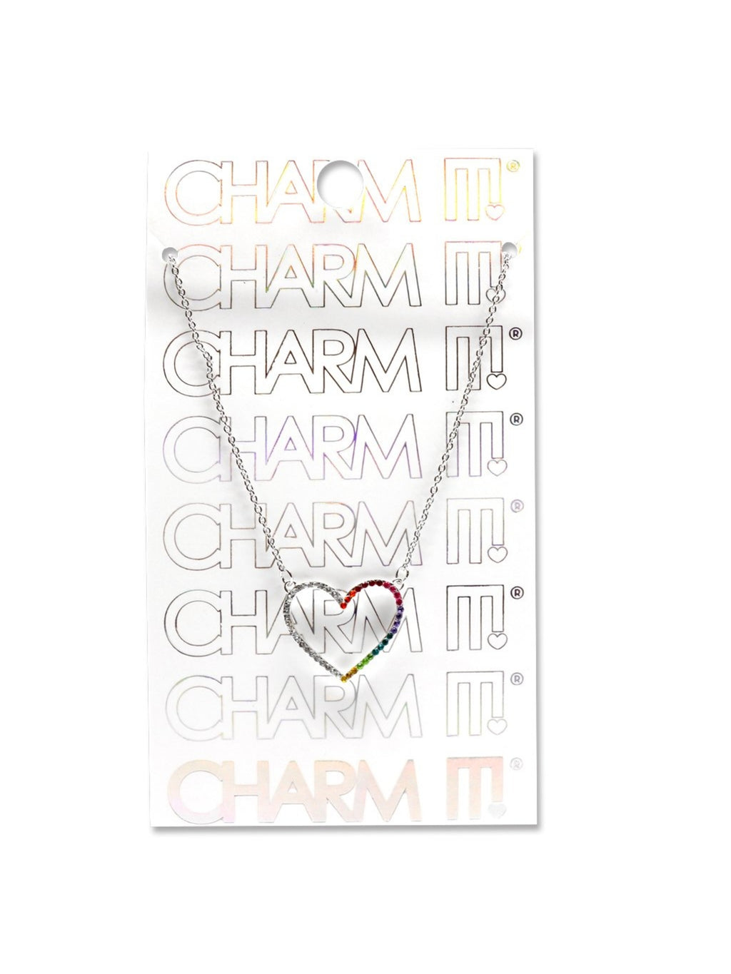 Rhinestone Heart Necklace - Charm It