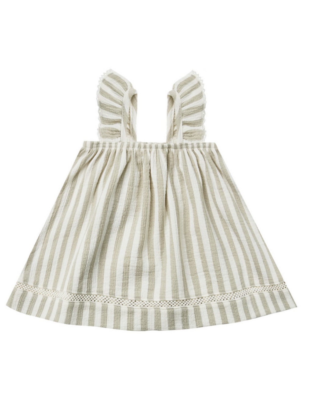 Sage Stripe Ruffle Dress
