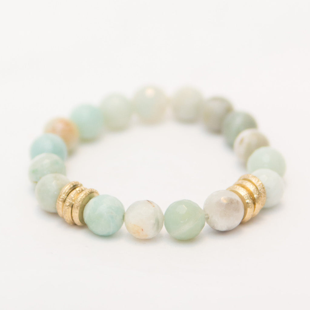 Amazonite with Brushed Gold Rings