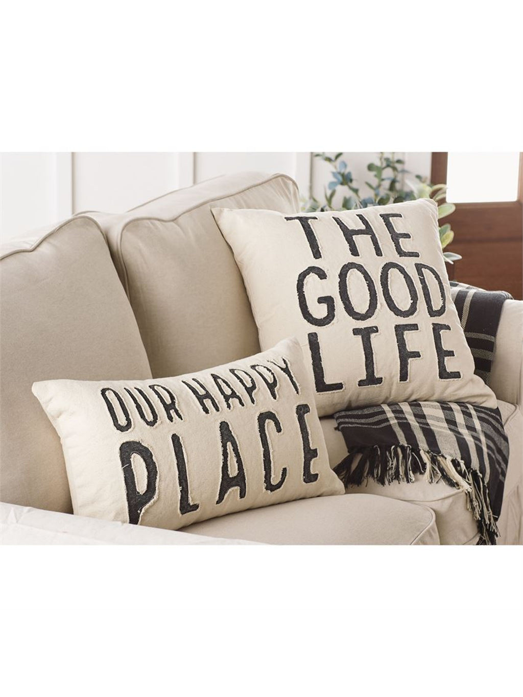 Our Happy Place Canvas Pillow