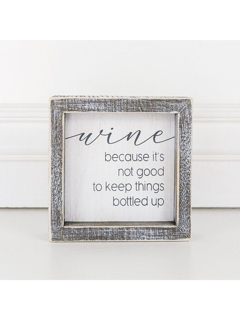 "Wine - 5""x5"" Framed Wooden Sign"