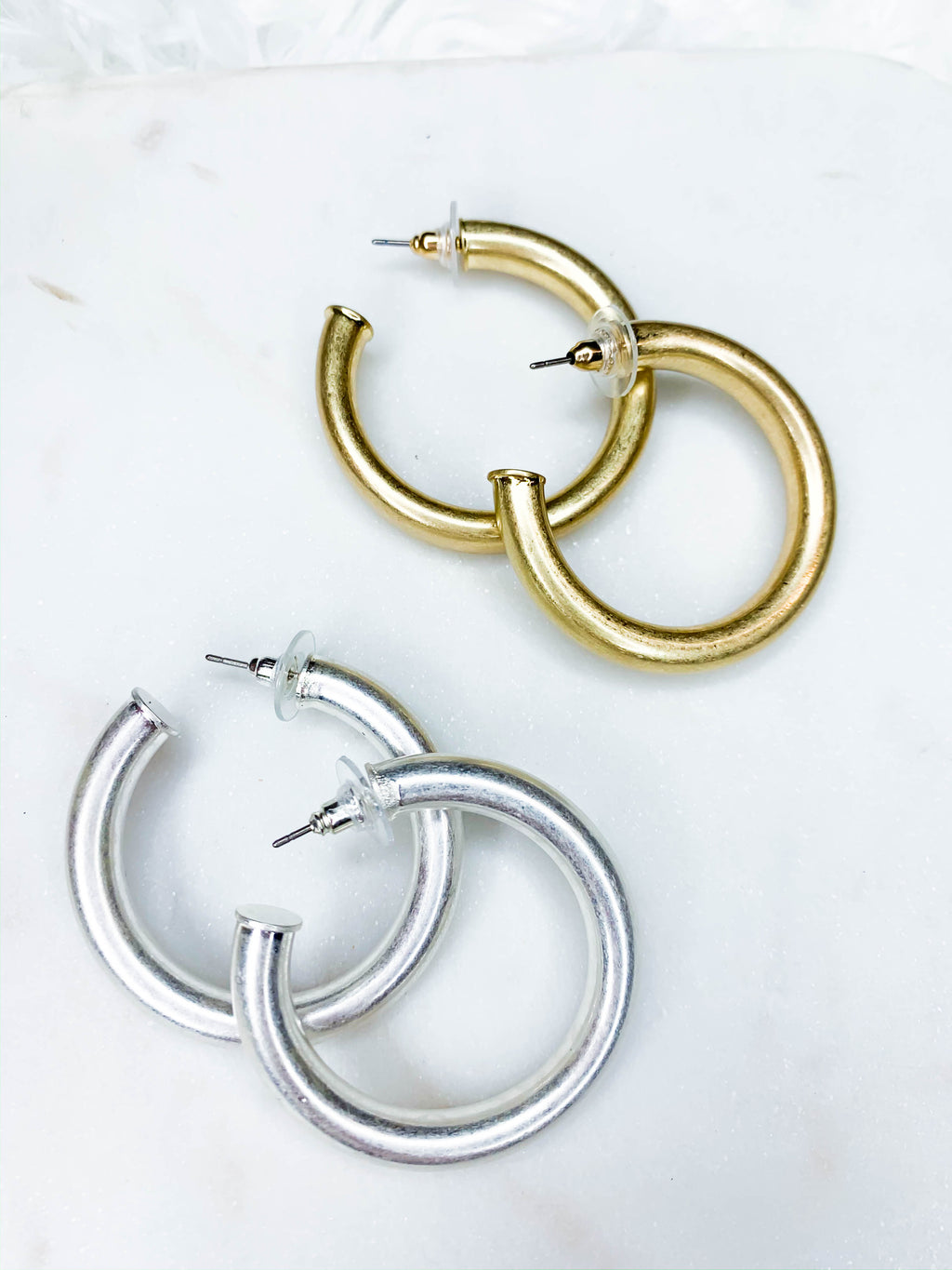 Sarah Brushed Metal Hoops