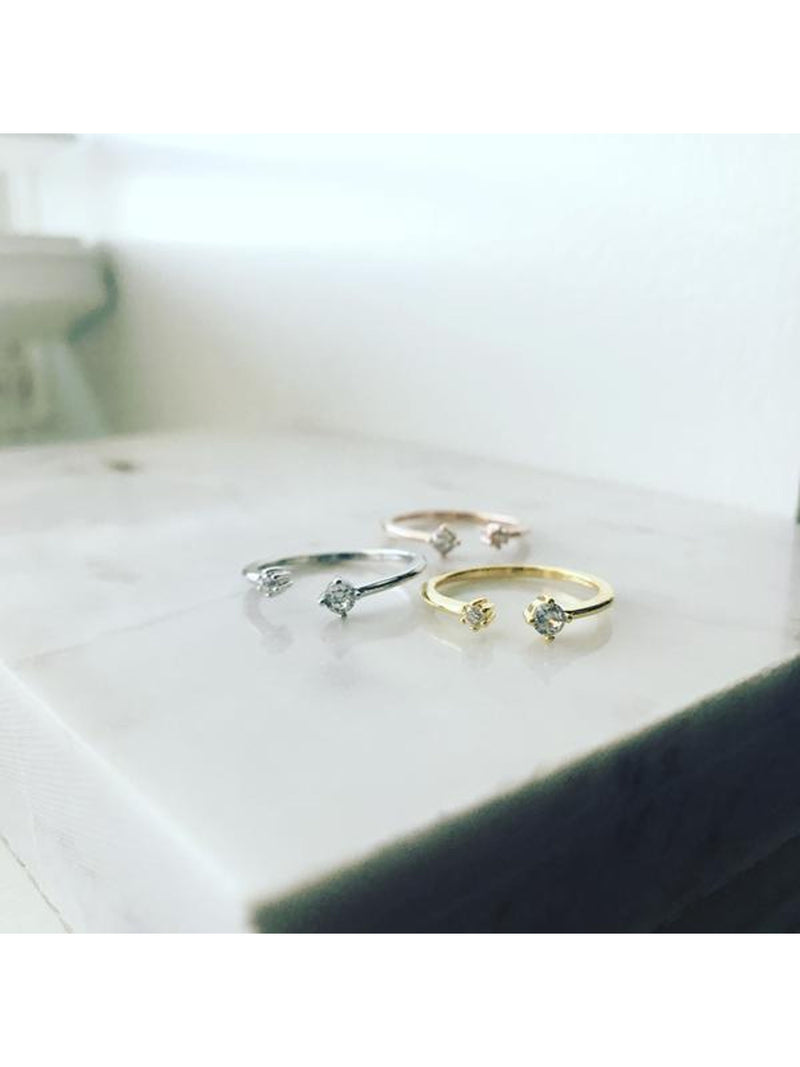 Side By Side Cubic Ring