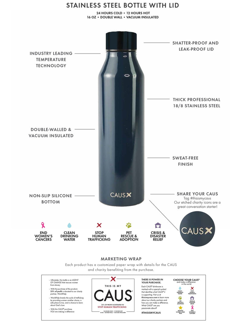 CAUS Water Bottle - Black Camo