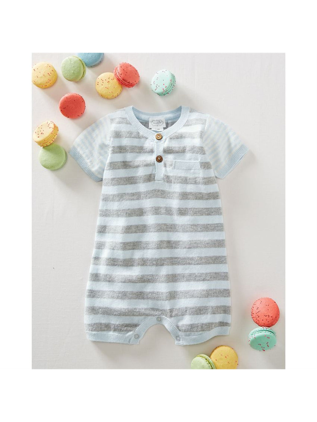 Blue Stripe Knit Romper