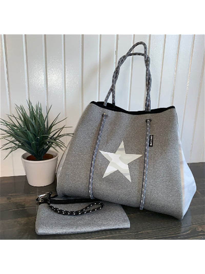 Grey Camo Star Large Tote