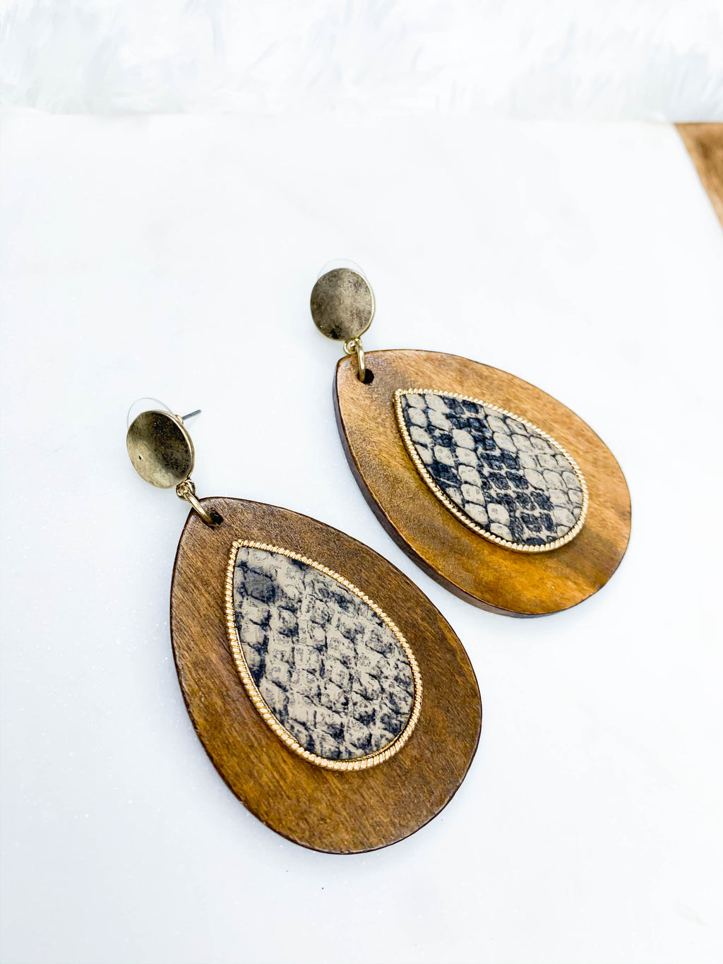 Wooden Snake Earrings