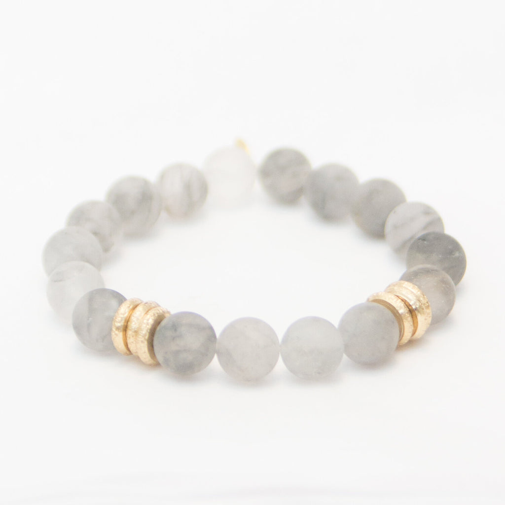 Gray Quartz with Brushed Gold Rings