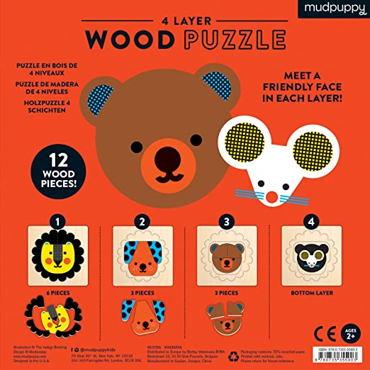 4 Layer Wood Puzzle - Animal Faces