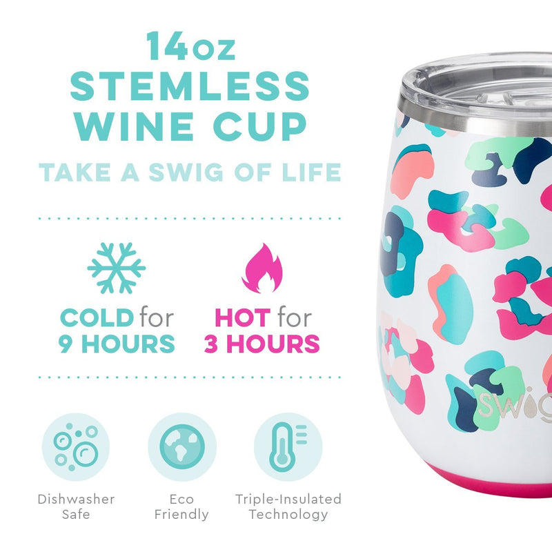 Swig Party Animal  -14 oz. Stemless Wine Cup