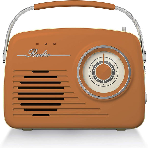 Akai Vintage Radio with AM and FM Radio Functions - Burnt Orange