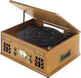 iTek I60011 4-in-1 Antique Record, CD, Cassette and Radio Player