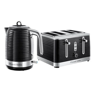 Russell Hobbs Inspire Black Kettle & 4 slice Toaster Set