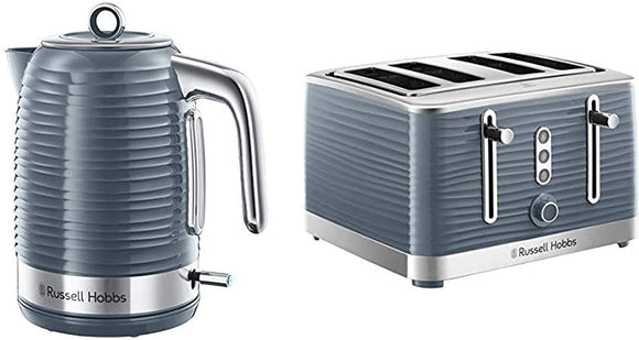 Russell Hobbs Inspire Grey Kettle & 4 slice Toaster Set