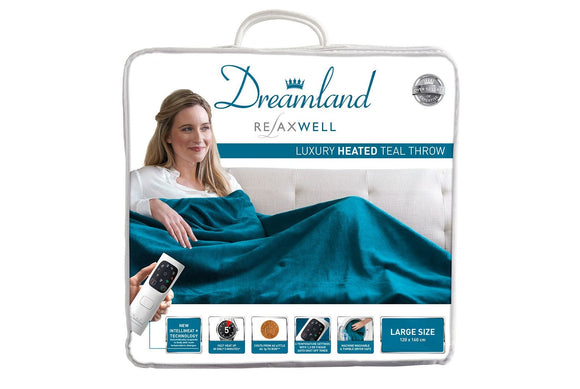Dreamland Relaxwell Luxury Heated Throw – Teal Blue