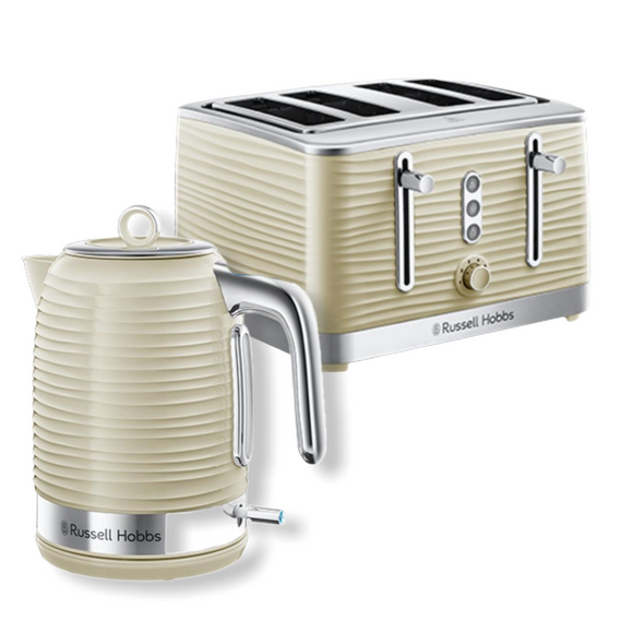 Russell Hobbs Inspire Cream Kettle & 4 slice Toaster Set