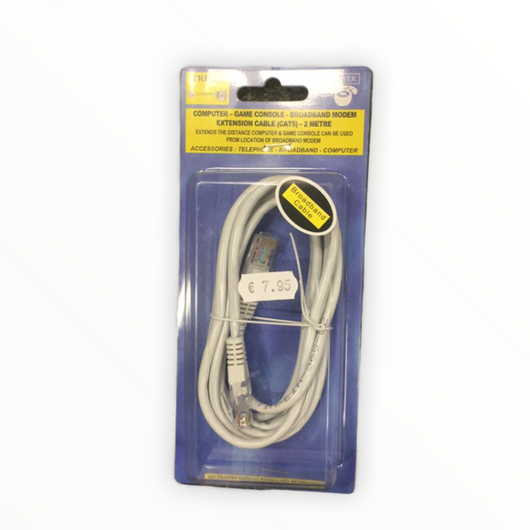 Computer - Game Console - Broadband modem Extension Cable (CAT5) - 2 Metre