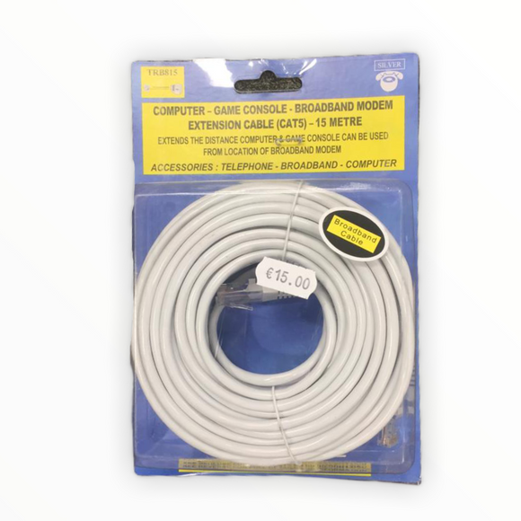 Computer - Game Console - Broadband modem Extension Cable (CAT5) - 15 Metre