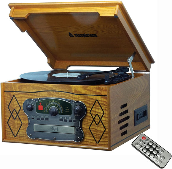 Steepletone Chichester III, Compact Nostalgic Dark or Light Wood Retro Music Centre
