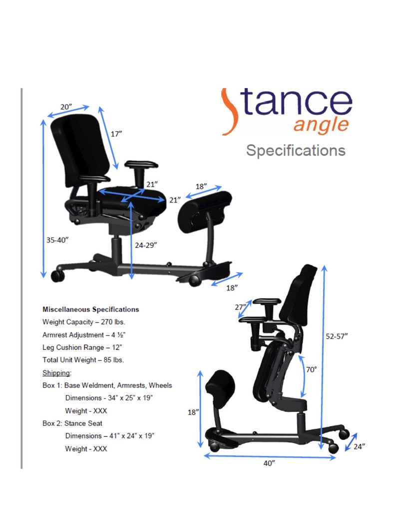 Health Postures Stance Angle Chair, 5100