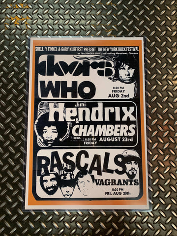 Fresh Prints Posters Doors, The Who, Jimi Hendrix, Chambers, Rascals Vintage Poster