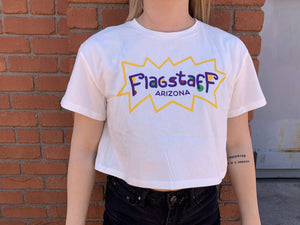 Flagstaff Colorful White Crop Tee