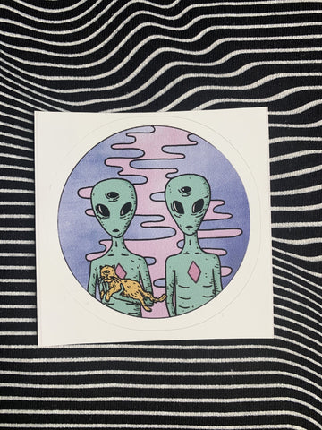 Red Bubble Stickers Trippy Alien With Cat Sticker