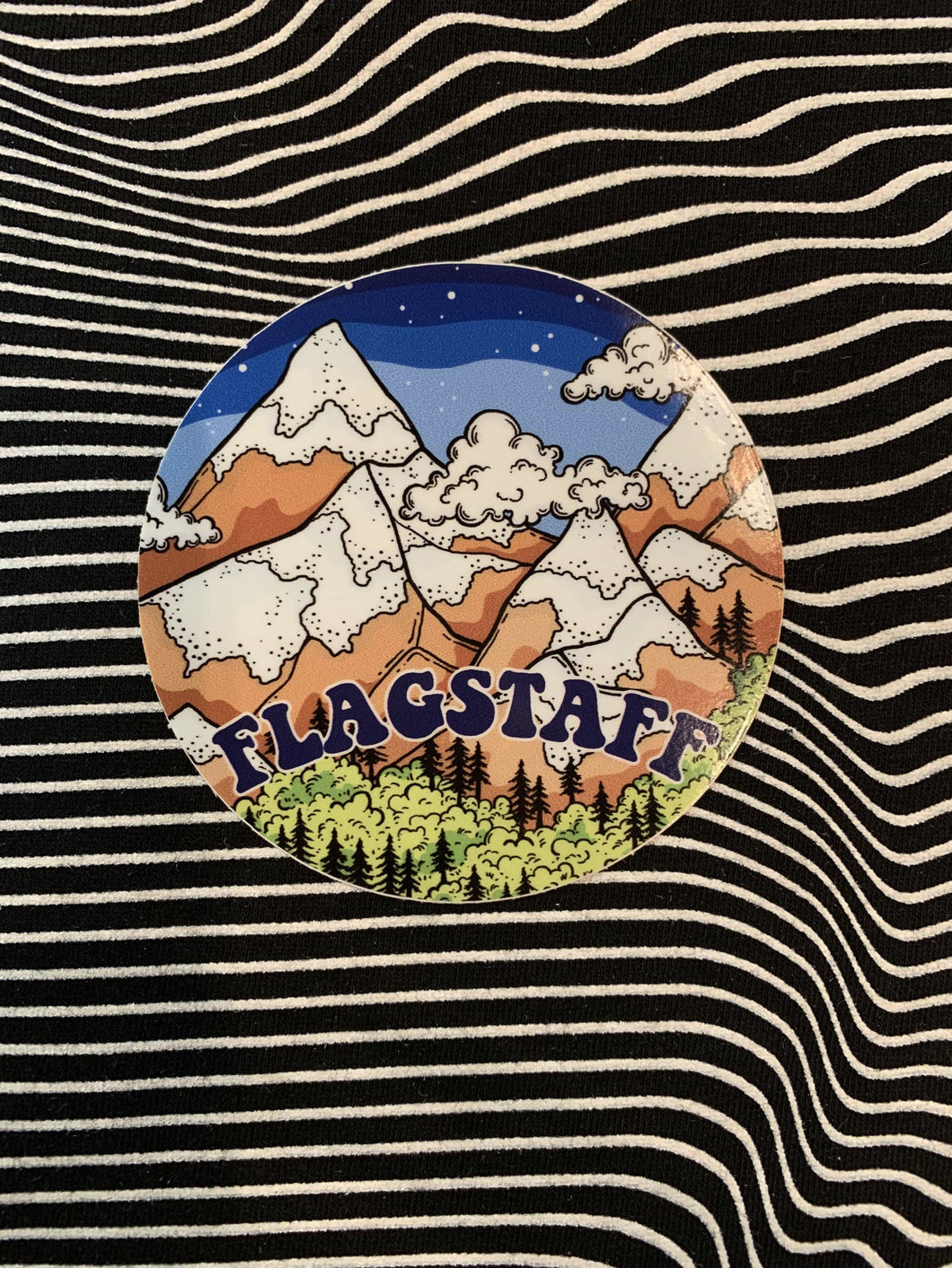 Snowy Night Flagstaff Sticker