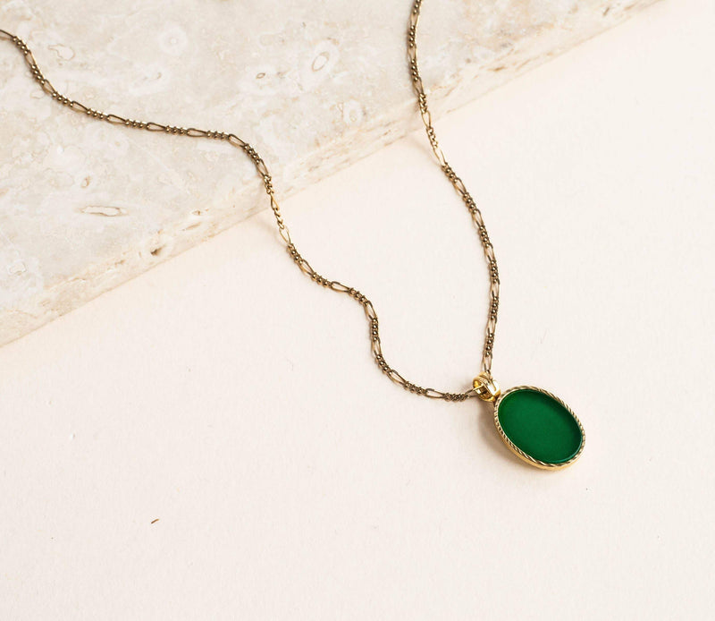 Michelle Starbuck Designs - Chrysoprase Ellipse Charm Necklace