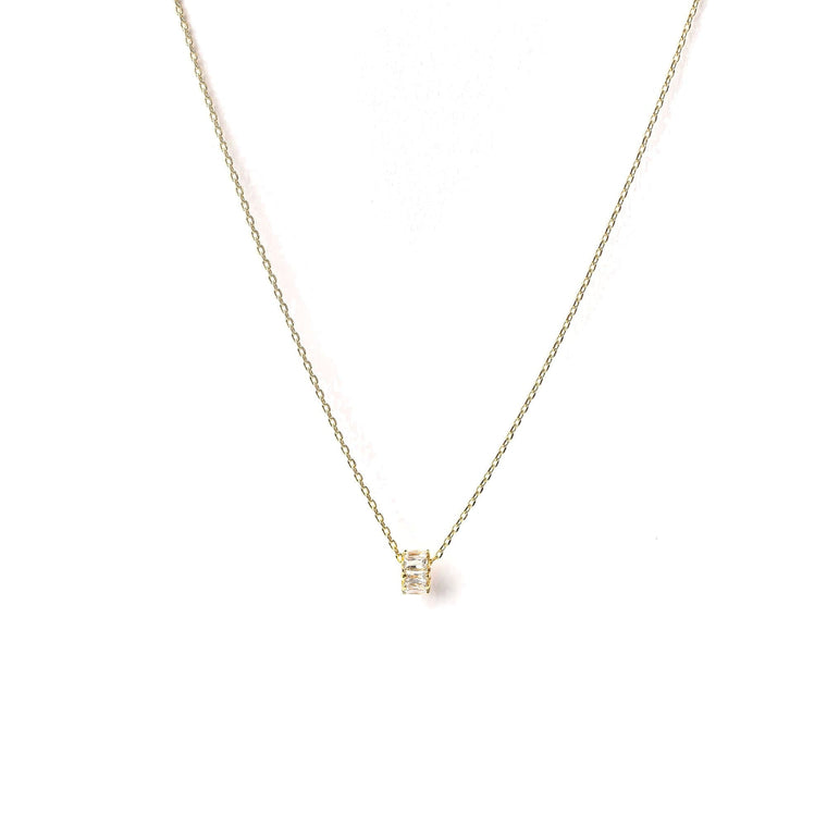 Pave Baguette Charm Necklace