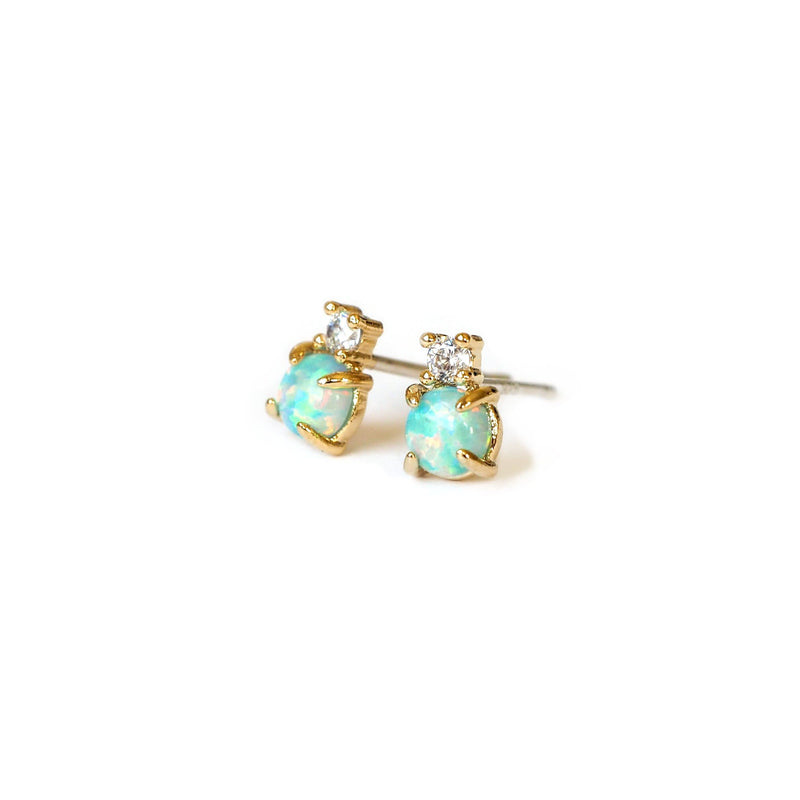 Opal CZ Stud Earrings, Earrings, adorn512, adorn512