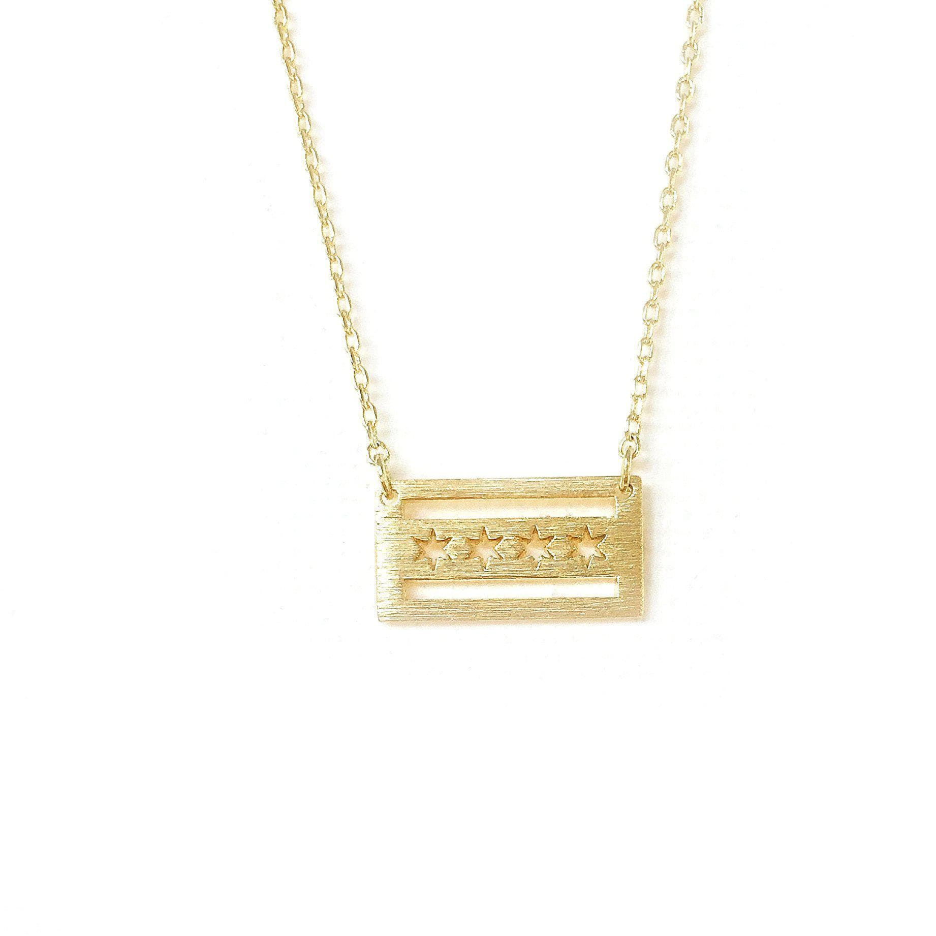 gold chicago love necklace