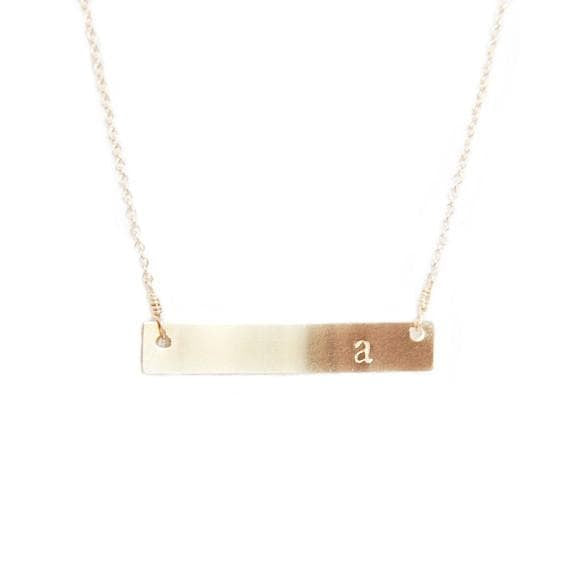 Horizontal Initial Bar Necklace