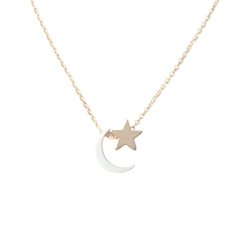 Moon & Star Necklace, Necklace, adorn512, adorn512