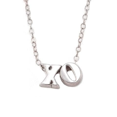 solid white gold xo necklace