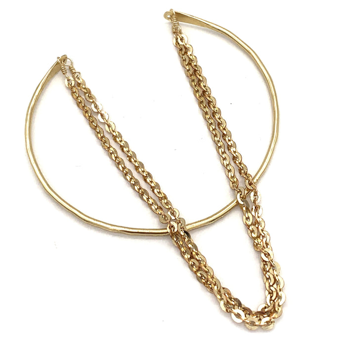 Open Bangle with Chain, Bracelets, adorn512, adorn512