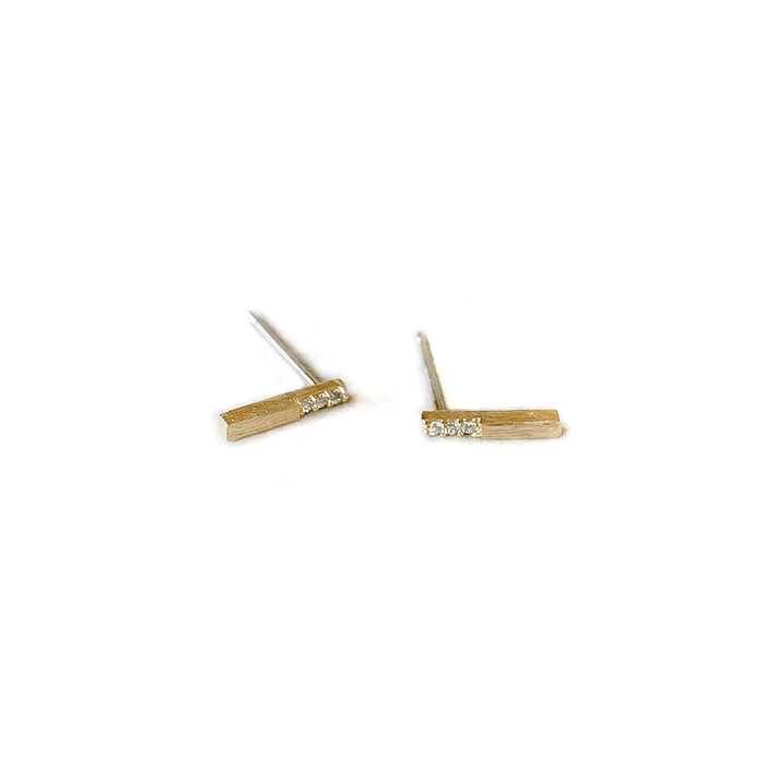 Single CZ Bar Stud, Earrings, adorn512, adorn512