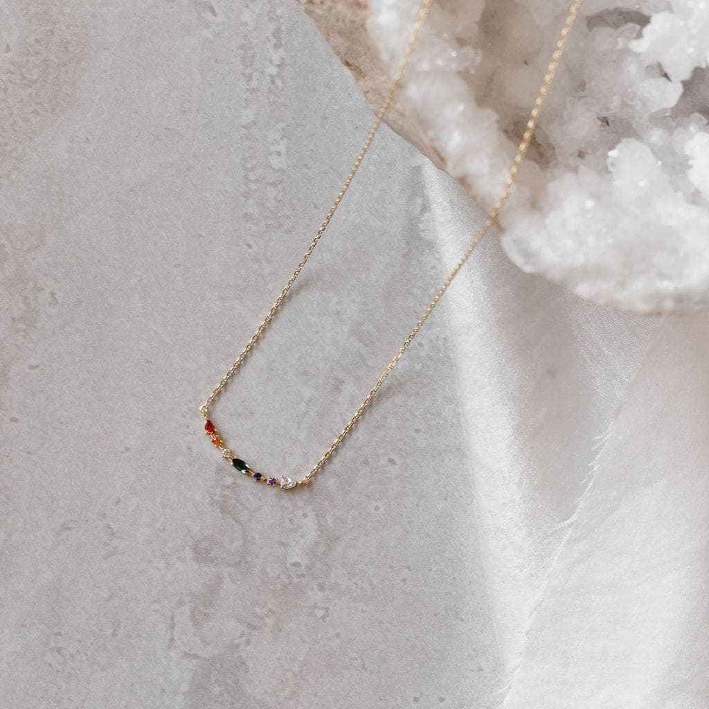Gem Cluster Bar Necklace, Necklace, adorn512, adorn512
