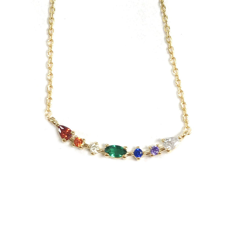 Gem Cluster Bar Necklace