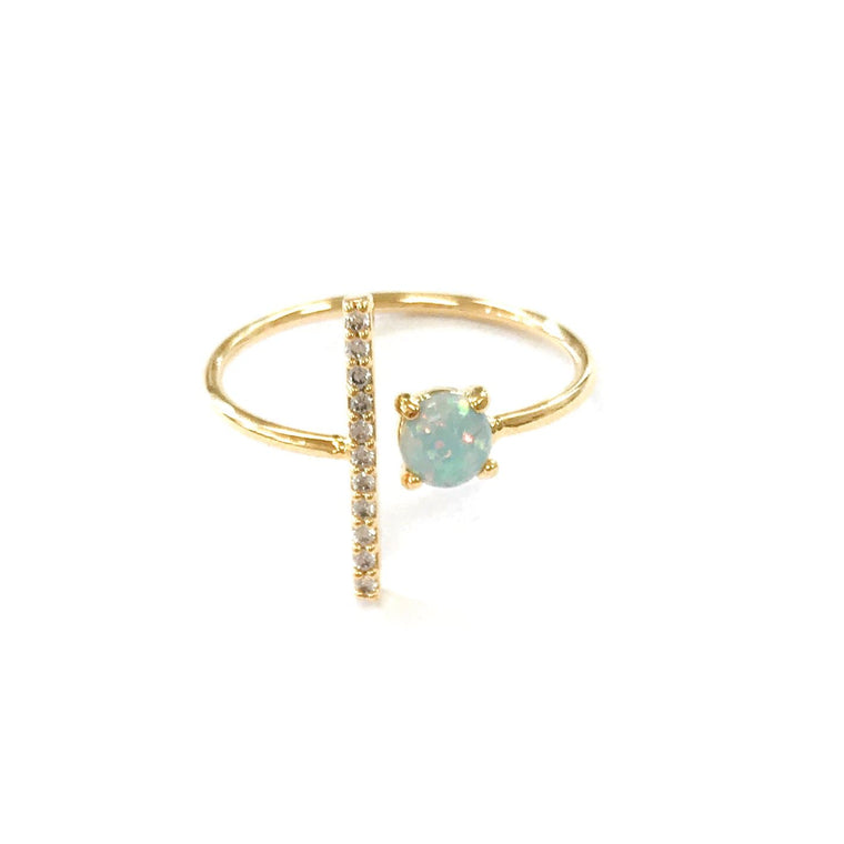 Opal CZ Bar Ring