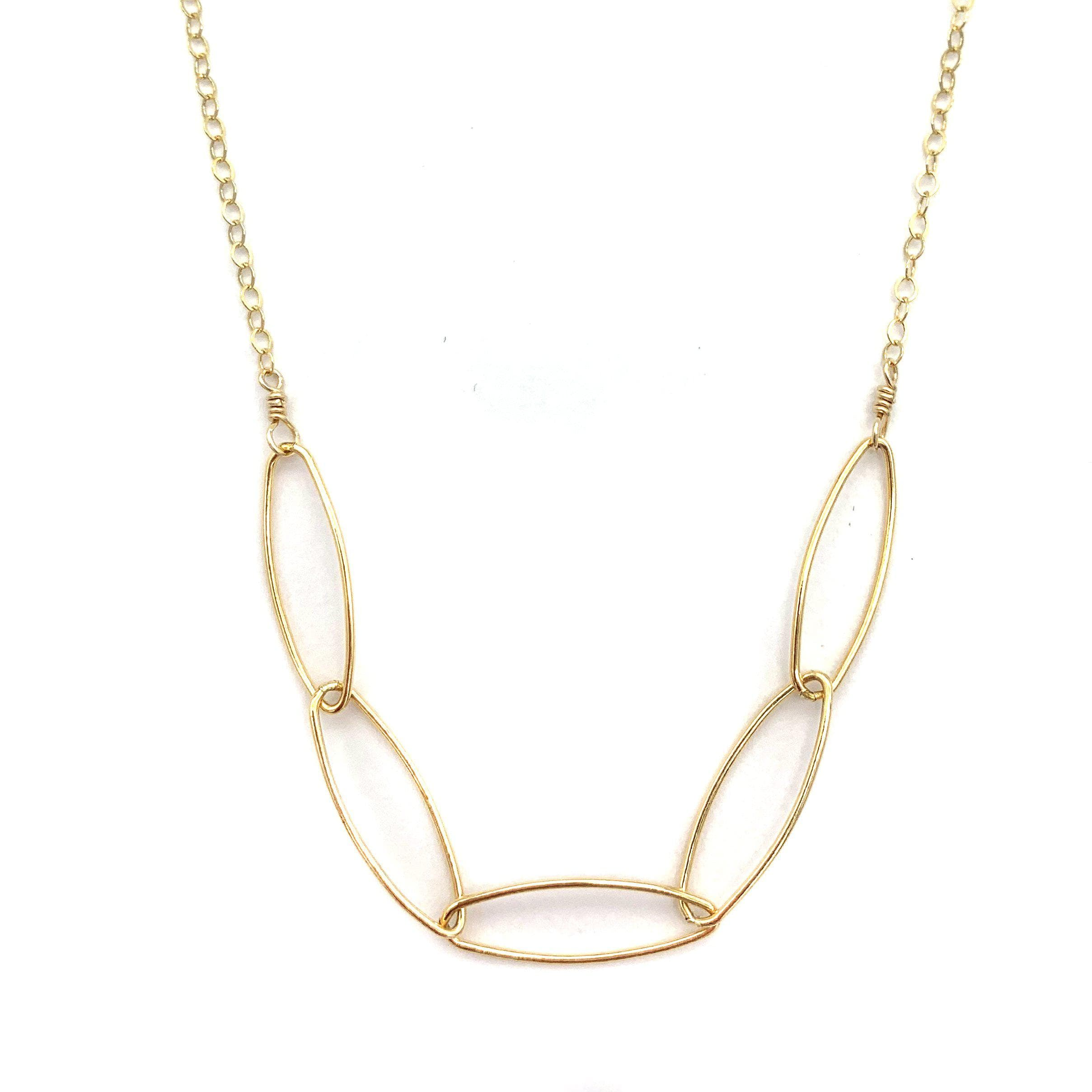 Diamond Cut Five Oval Necklace, Necklaces, adorn512, adorn512