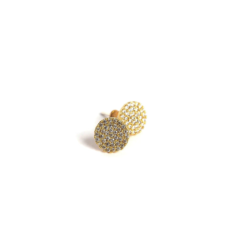 Pave Disc Stud Earrings