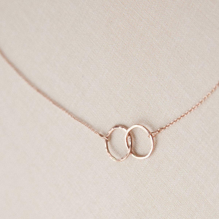 Rose Gold Best Friend Necklace Linked Infinity Hoops
