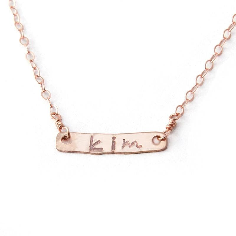 rose gold name plate necklace