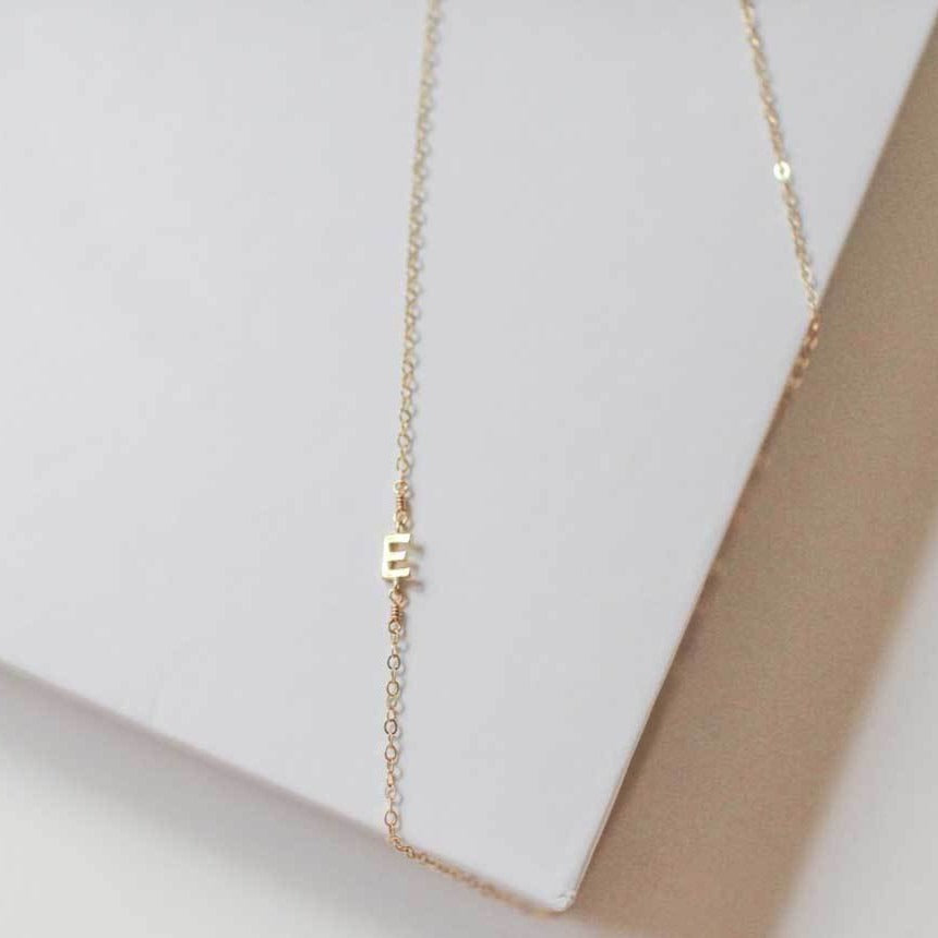 Side Initial Necklace - adorn512