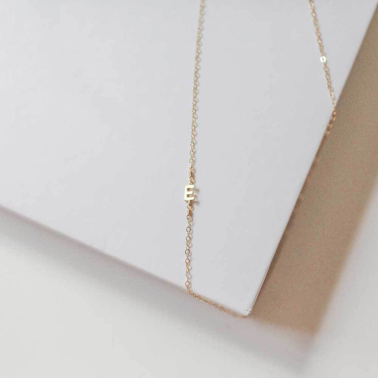 Side Initial Necklace