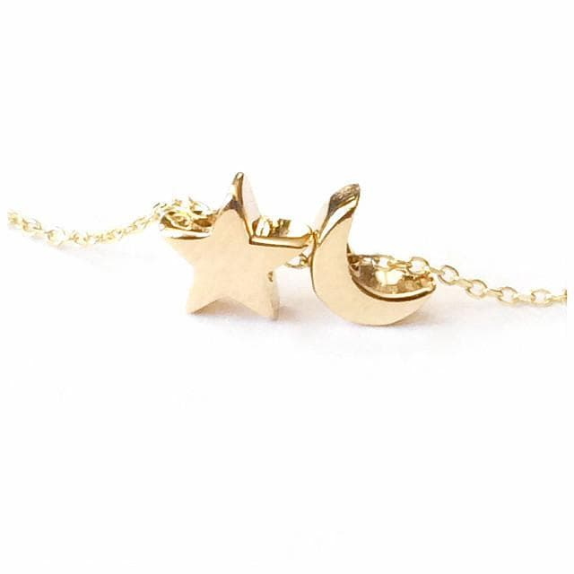 Moon & Star Necklace - solid gold, Necklace, adorn512, adorn512