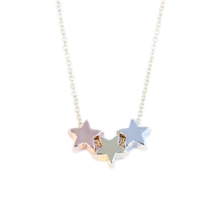 tri color gold star necklace