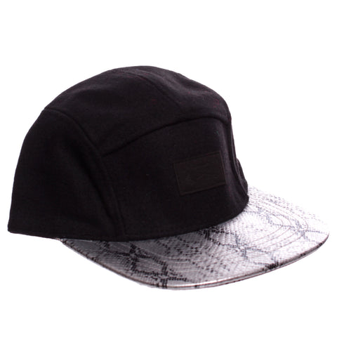 Black Wool   Faux Silver Snakeskin 5 Panel Hat e24cbdc16b5f